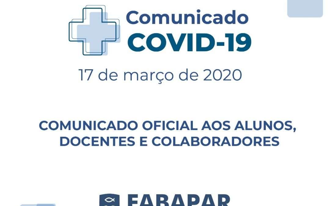 Comunicado COVID-19 – 17 de março de 2020