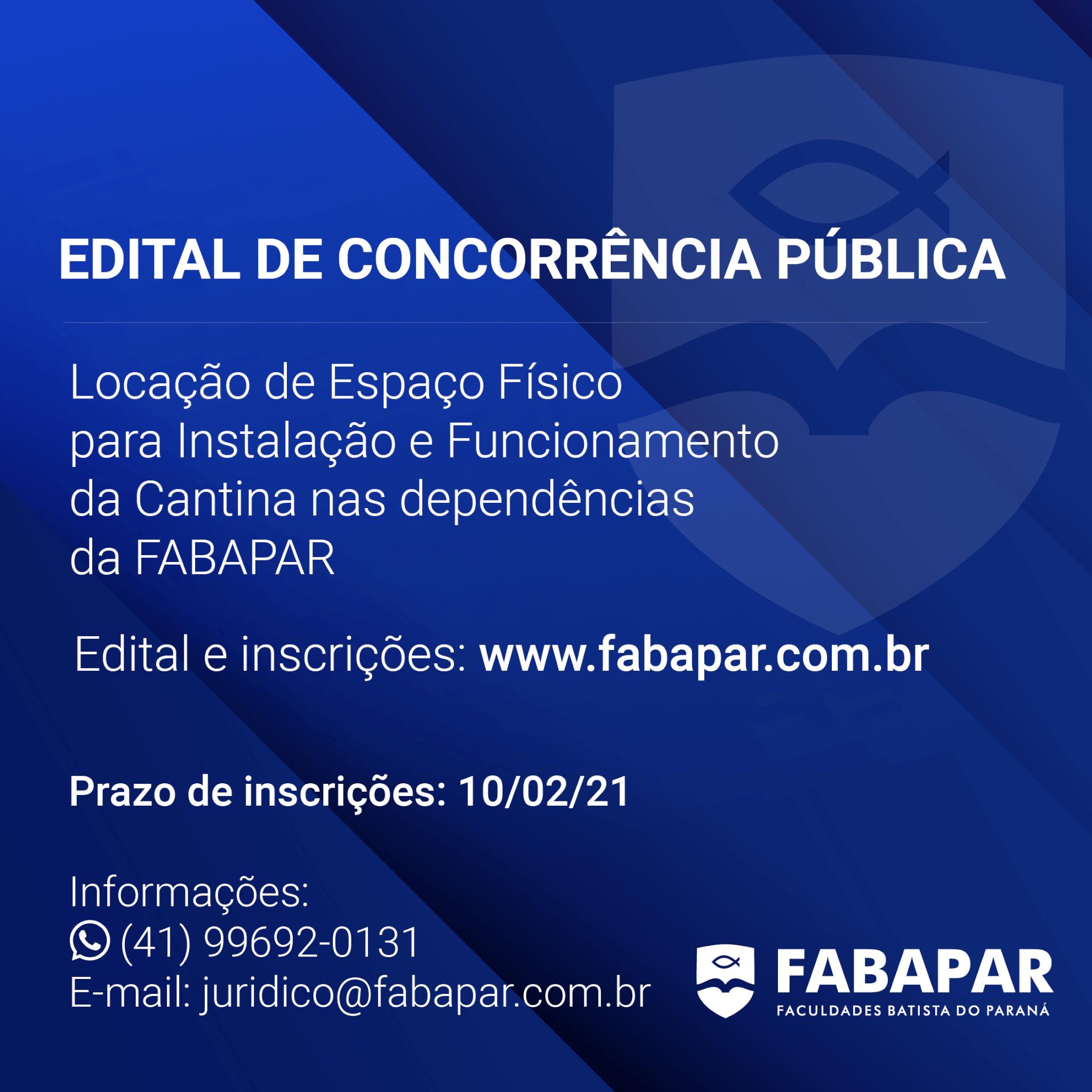 EDITAL DE CONCORRÊNCIA PÚBLICA