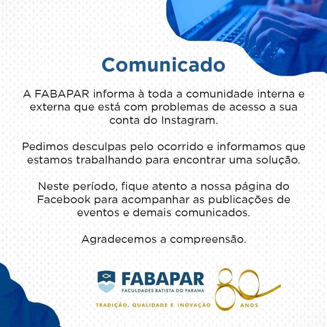 COMUNICADO – Instagram FABAPAR